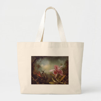 Orchid with Two Hummingbirds by Martin Johnson Hea Jumbo Tote Bag