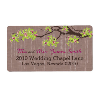 Orchids and Branches Wedding Label