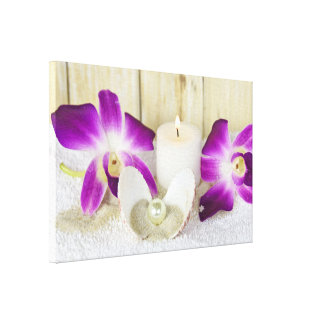 orchids and spa candle with seashell canvas print