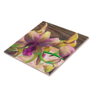 Orchids Blooming Large Square Tile