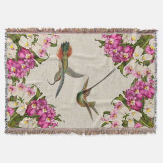Orchids & Hummingbirds Throw Blanket