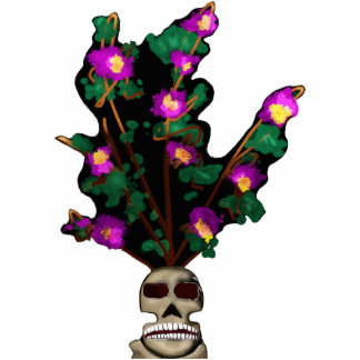 Orchids In A Skull Vase 3d Standing Photo Sculpture