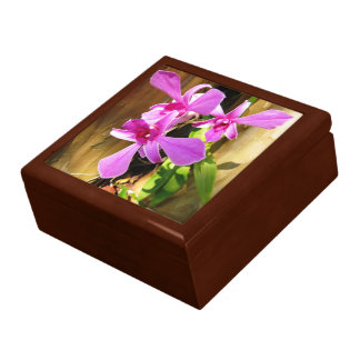 Orchids in Cypress Tree Ceramic Tile Trinket Box