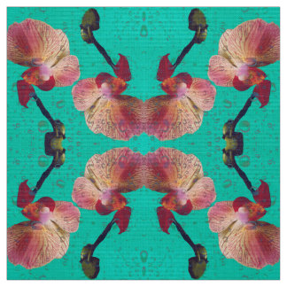 Orchids in green colour fabric