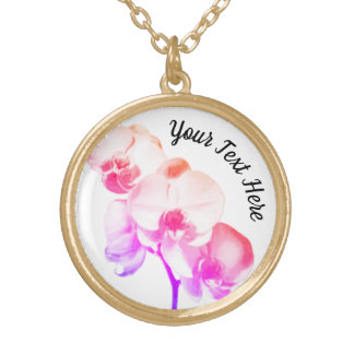 Orchids Personalized Gold Plated Necklace