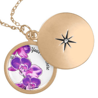 Orchids Personalized Locket Necklace