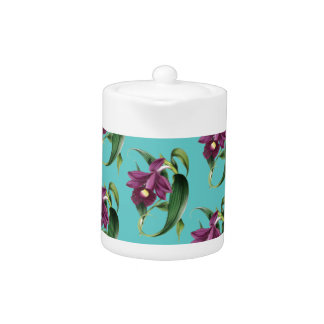 Orchids Purple Pattern Teal