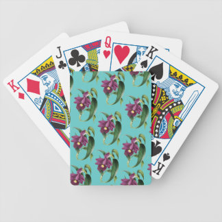 Orchids Purple Pattern Teal Bicycle Playing Cards