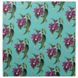 Orchids Purple Pattern Teal Napkin
