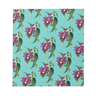 Orchids Purple Pattern Teal Notepad