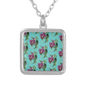 Orchids Purple Pattern Teal Silver Plated Necklace