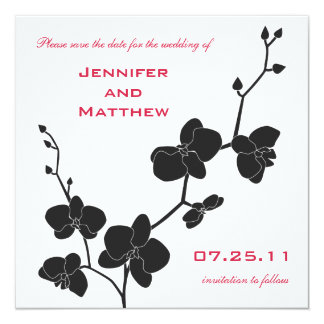 Orchids Save the Date Postage - Red and Black 13 Cm X 13 Cm Square Invitation Card