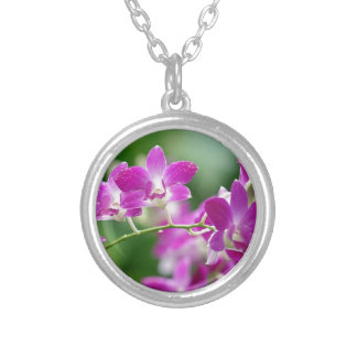 orchids silver plated necklace