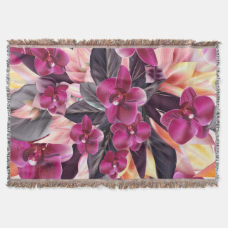 Orchids. Tropical design with beautiful flowers an Throw Blanket