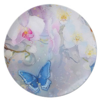 Orchids Watercolor White Lavender blue butterfly Plate