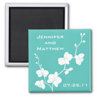 Orchids Wedding Magnet - Turquoise Blue and White