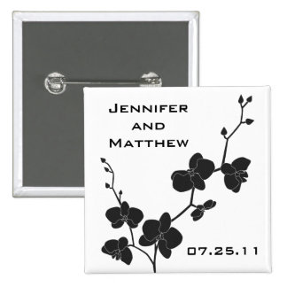 Orchids Wedding Pin - Black and White