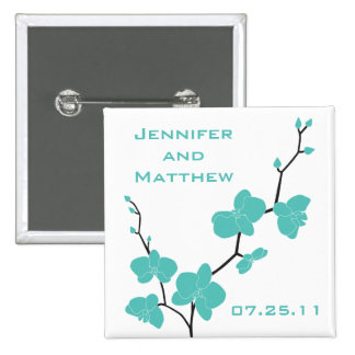 Orchids Wedding Pin - Blue and Black on White