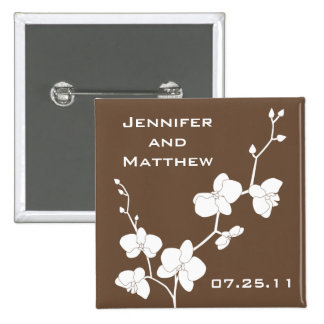 Orchids Wedding Pin - Chocolate Brown and White