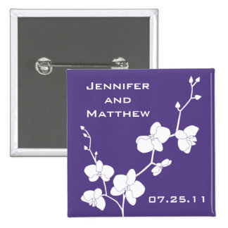 Orchids Wedding Pin - Deep Purple and White