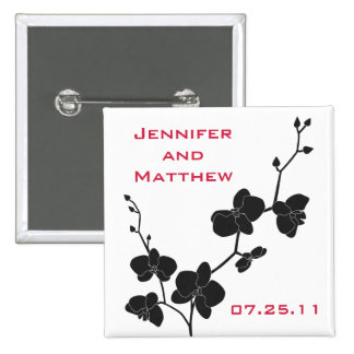 Orchids Wedding Pin - Red and Black on White