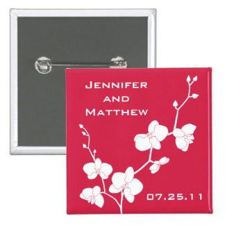 Orchids Wedding Pin - Red and White