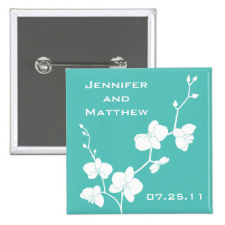 Orchids Wedding Pin - Turquoise Blue and White