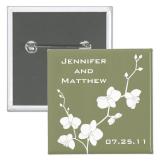 Orchids Wedding Pin - Vintage Olive and White
