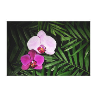 Orchids with palm leaves canvas print