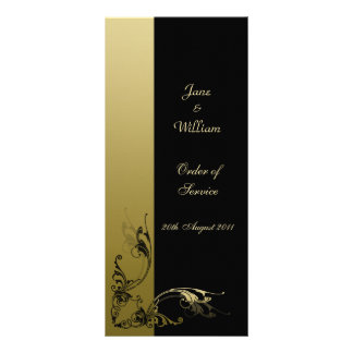 Order of Service Black and Gold Effect Swirls Rack Card