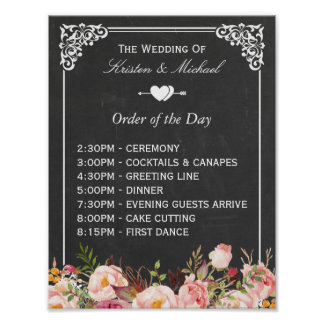 Order of the Day | Floral Chalkboard Wedding Sign Poster