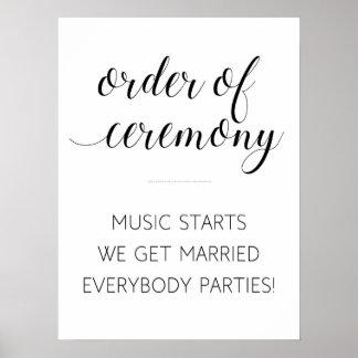 Order of Wedding Ceremony Sign - Alejandra Poster