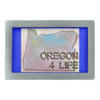 """Oregon 4 Life"" State Map Pride Design Belt Buckle"