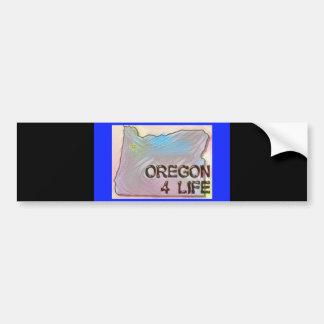"""""""Oregon 4 Life"""" State Map Pride Design Bumper Sticker"""