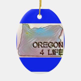 """Oregon 4 Life"" State Map Pride Design Ceramic Ornament"