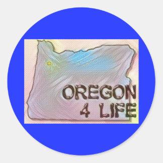 """""""Oregon 4 Life"""" State Map Pride Design Classic Round Sticker"""