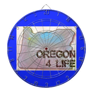 """Oregon 4 Life"" State Map Pride Design Dartboard"