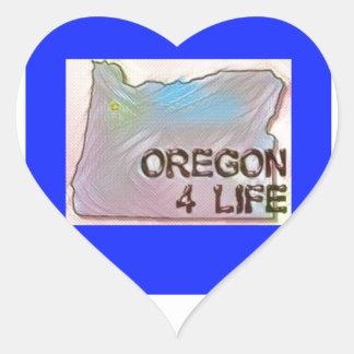 """""""Oregon 4 Life"""" State Map Pride Design Heart Sticker"""