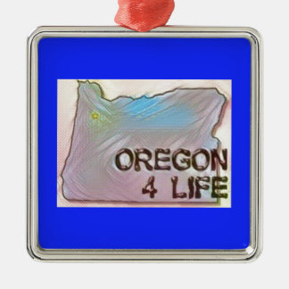 """Oregon 4 Life"" State Map Pride Design Metal Ornament"