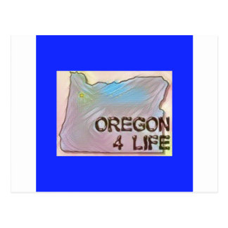 """Oregon 4 Life"" State Map Pride Design Postcard"
