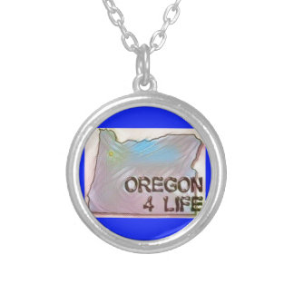 """Oregon 4 Life"" State Map Pride Design Silver Plated Necklace"