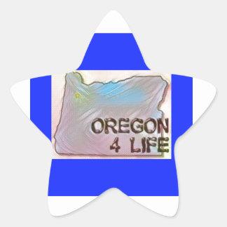 """Oregon 4 Life"" State Map Pride Design Star Sticker"