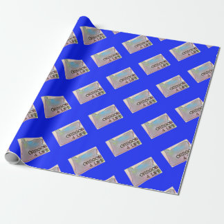 """Oregon 4 Life"" State Map Pride Design Wrapping Paper"