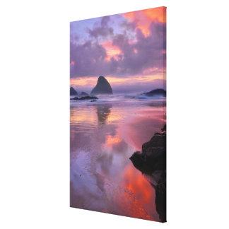 Oregon beach and sea stacks, sunset canvas print