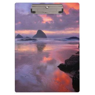 Oregon beach and sea stacks, sunset clipboard