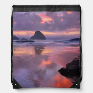 Oregon beach and sea stacks, sunset drawstring bag