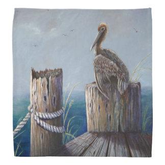 Oregon Coast Brown Pelican Acrylic Ocean Art Bandana