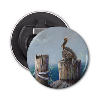 Oregon Coast Brown Pelican Acrylic Ocean Art Bottle Opener