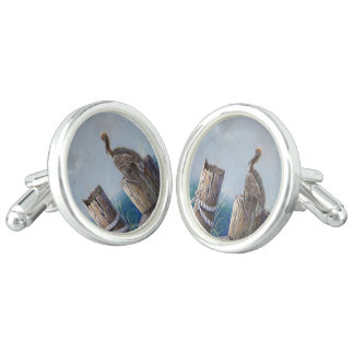 Oregon Coast Brown Pelican Acrylic Ocean Art Cufflinks