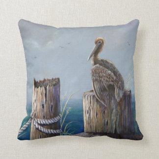 Oregon Coast Brown Pelican Acrylic Ocean Art Cushion